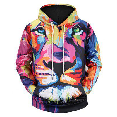 Mr 1991 INC Miss Go Male Colorful Lion Plus Size Hoodie