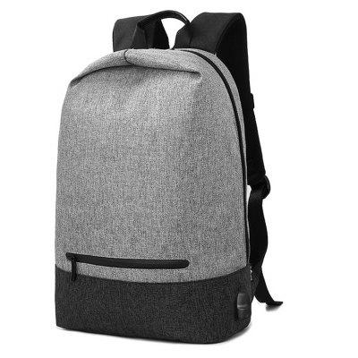 Buy BLACK AND GREY Men Splicing Water-resistant Canvas Backpack with USB Port for $25.99 in GearBest store