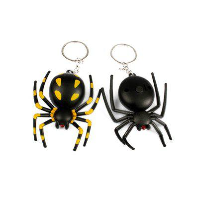 Spider Shape LED Luminous Key Chain Ring with Sound 1PC
