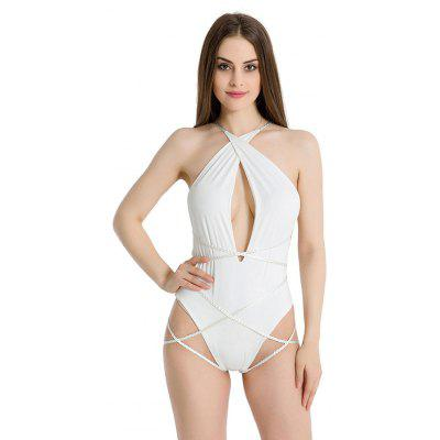 Mulheres Sexy One-piece Bandage Swimming Jumpsuit