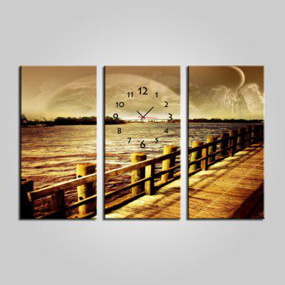 E - HOME Number Design River Scenery Wall Clock