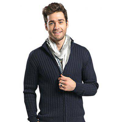 Masculino Casual Pure Color Zip Up Sweater