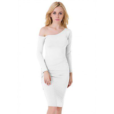 Skew Collar Long-sleeved Fitted Dress