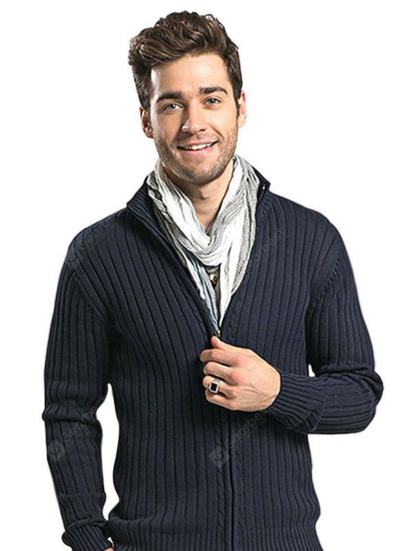Male Casual Pure Color Zip Up Sweater