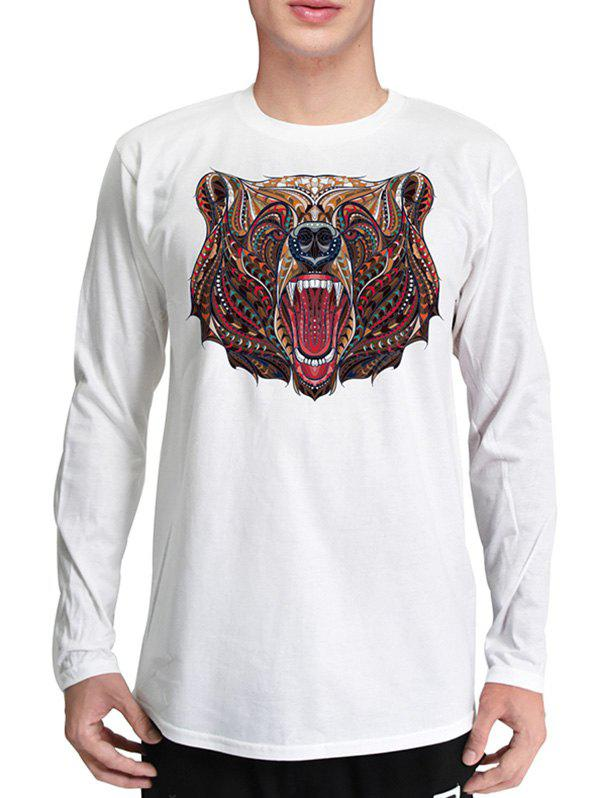 Mr.1991INC Miss.GO Men Roaring Bear Head 3D printing T-shirt