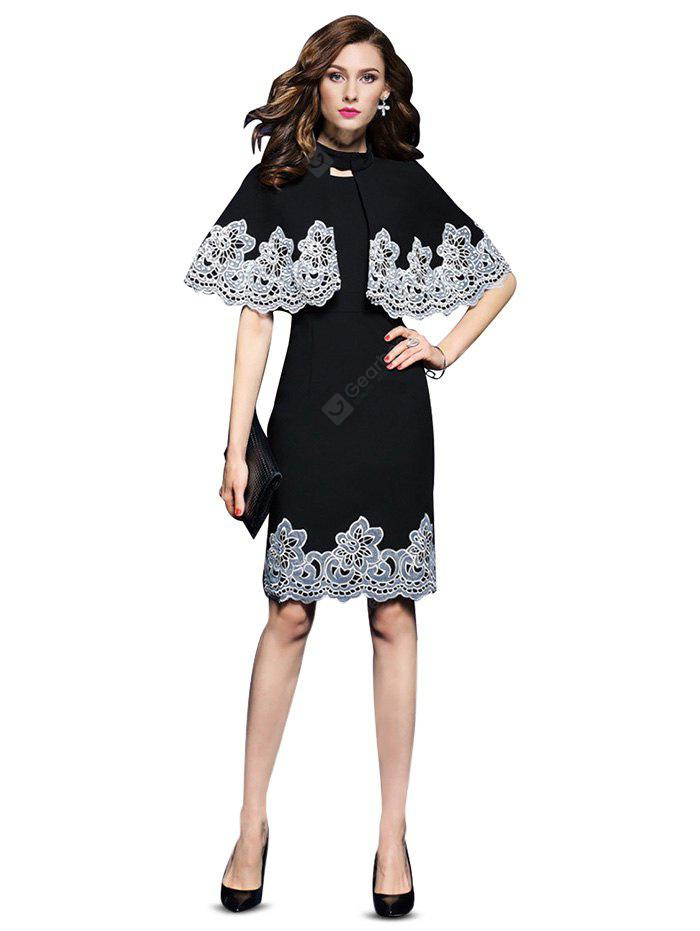 Embroidered Fitted Dress with Cape