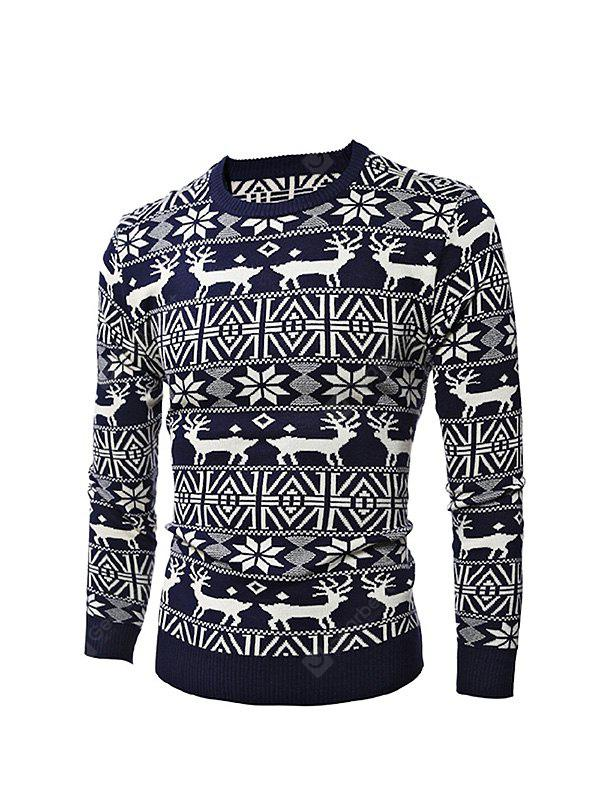 Male Deer Round Collar Spliced Sweater for Christmas