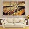 E - HOME Number Design River Scenery Wall Clock - COLORMIX