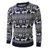 Male Deer Round Collar Spliced Sweater for Christmas - CADETBLUE