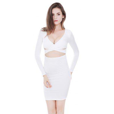 Sexy Cross Strap Bare-midriff Bodycon Dress
