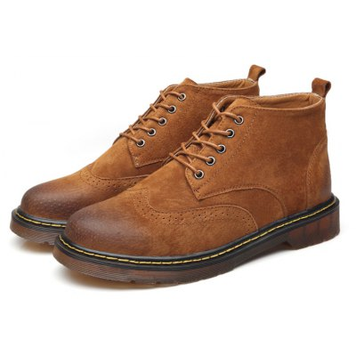 Men Soft Leather Wing Boots