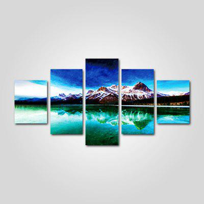 God Painting Mountain Lake Pattern Canvas Print 5PCS