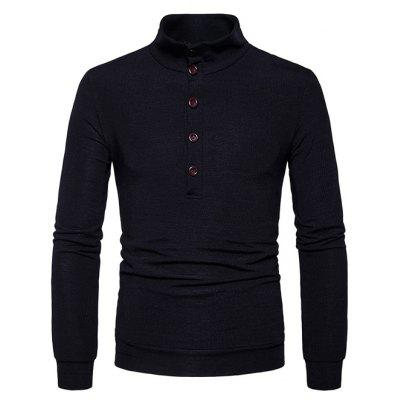 Men Sweater Solid Color Warm Stand Collar