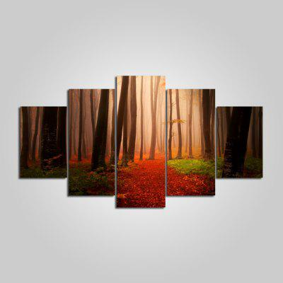 YSDAFEN Red Forest Printed Painting Canvas Print 5PCS