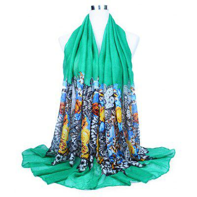 Thin Floral Pattern Printed Silk Scarf for Women