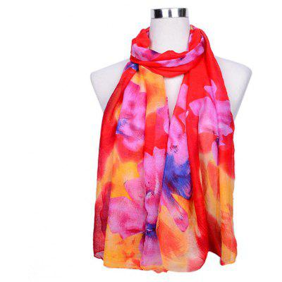 Colorful Floral Pattern Printed Silk Scarf for Women