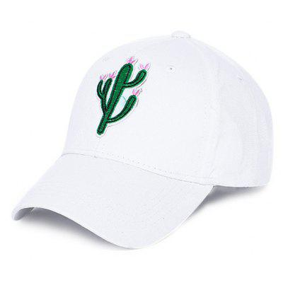 Buy Unisex Fresh Cactus Embroidery Outdoor Street Sun Hat, WHITE, Apparel, Accessories, Hats, Men's Hats for $2.76 in GearBest store