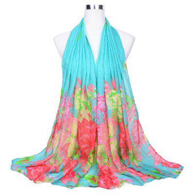 Graceful Floral Pattern Printed Silk Scarf for Women
