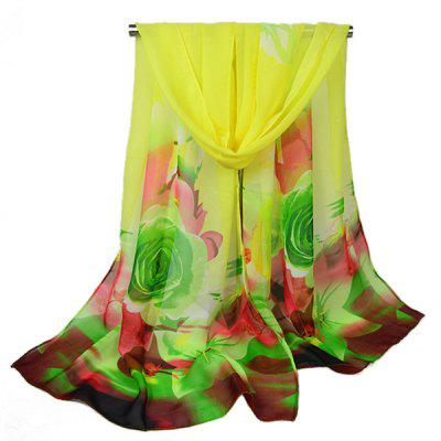 Colorful Floral Pattern Printed Female Silk Scarf