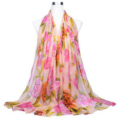 Classic Floral Pattern Printed Silk Scarf for Women