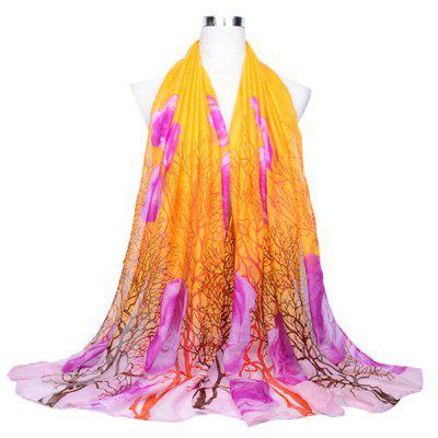 Tree Branch Pattern Printed Thin Silk Scarf for Women
