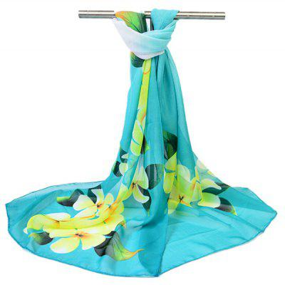 Floral Pattern Printed Silk Scarf for Women