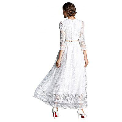 White Maxi Lace DressWomens Dresses<br>White Maxi Lace Dress<br><br>Dresses Length: Maxi<br>Embellishment: Lace<br>Material: Polyester<br>Neckline: Round Collar<br>Package Contents: 1 x Dress<br>Package size: 16.00 x 12.00 x 3.00 cm / 6.3 x 4.72 x 1.18 inches<br>Package weight: 0.3300 kg<br>Pattern Type: Solid Color<br>Product weight: 0.3100 kg<br>Season: Fall, Spring<br>Silhouette: Fit and Flare<br>Sleeve Length: 3/4 Length Sleeves<br>Style: Elegant<br>With Belt: Yes