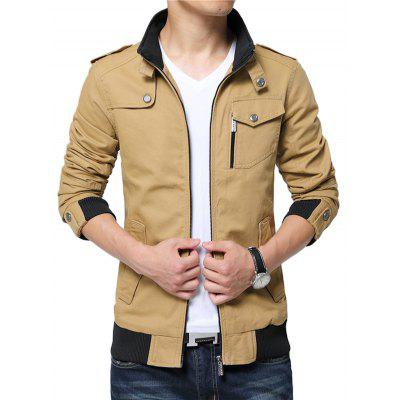 NIANJEEP Male Cool Pure Color Stand-up Collar JacketMens Jackets &amp; Coats<br>NIANJEEP Male Cool Pure Color Stand-up Collar Jacket<br><br>Brand: NIANJEEP<br>Closure Type: Zipper<br>Clothes Type: Jackets<br>Collar: Stand-Up Collar<br>Embellishment: Others<br>Materials: Cotton<br>Occasion: Daily Use<br>Package Content: 1 x Jacket<br>Package Dimension: 56.00 x 40.00 x 3.00 cm / 22.05 x 15.75 x 1.18 inches<br>Package weight: 0.9400 kg<br>Pattern Type: Solid<br>Product weight: 0.8000 kg<br>Seasons: Autumn,Winter<br>Shirt Length: Regular<br>Sleeve Length: Long Sleeves<br>Style: Fashion, Casual<br>Thickness: Medium thickness