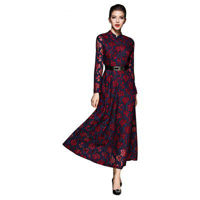 Jewel Collar Elegant Flared Dress with Belt