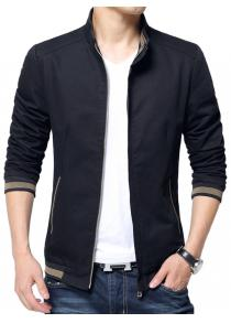 NIANJEEP Cool Pure Color Stand-up Collar Slim Jacket for Men