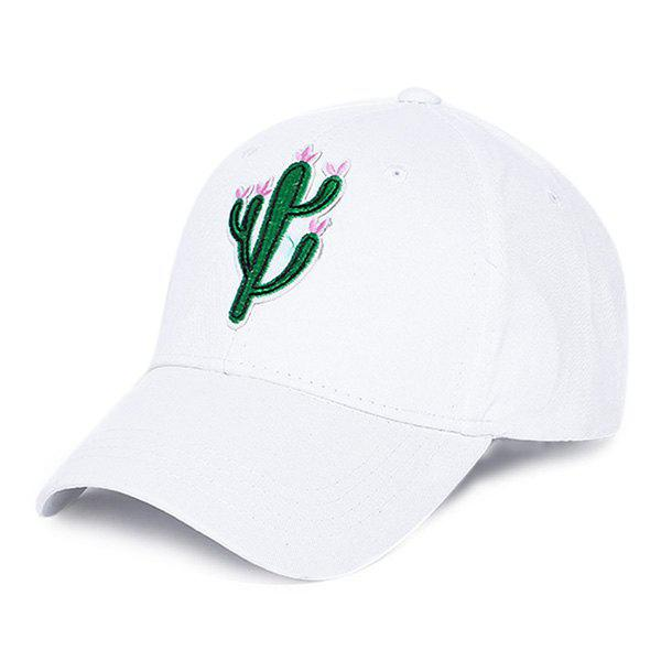 Unisex Fresh Cactus Embroidery Outdoor Street Sun Hat, WHITE, Apparel, Accessories, Hats, Men's Hats