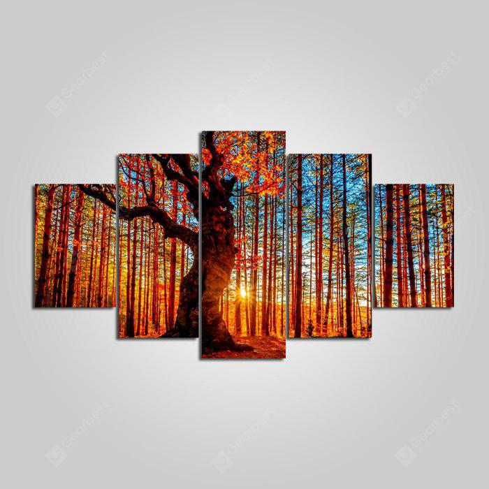 YSDAFEN Sunshine Forest Printed Painting Canvas Print 5PCS