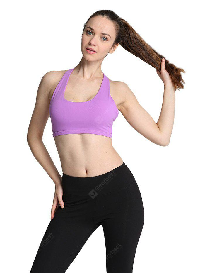 PURPLE L Women Ideal Sports Bra for Yoga Exercise