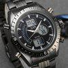 6.11 901 Stainless Steel Band Multifunctional Men Watch - BLACK