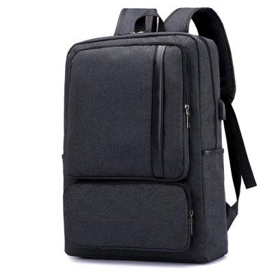 Buy Men Leisure Leather-trimmed Backpack with USB Port, BLACK, Bags & Shoes, Men's Bags, Backpacks for $30.32 in GearBest store