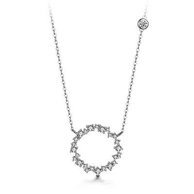 T400 12189 925 Sterling Silver Circle Women Necklace