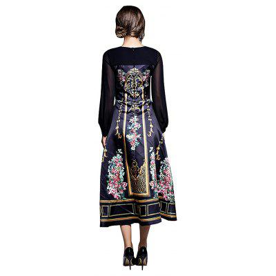 Royal Style Printed Flared Maxi DressWomens Dresses<br>Royal Style Printed Flared Maxi Dress<br><br>Dresses Length: Maxi<br>Material: Polyester<br>Neckline: Round Collar<br>Package Contents: 1 x Dress<br>Package size: 17.00 x 13.00 x 2.00 cm / 6.69 x 5.12 x 0.79 inches<br>Package weight: 0.2500 kg<br>Pattern Type: Floral<br>Product weight: 0.2300 kg<br>Season: Fall, Spring<br>Silhouette: Fit and Flare<br>Sleeve Length: Long Sleeves<br>Style: Elegant<br>With Belt: No