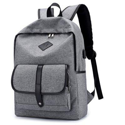 Buy LIGHT GRAY Men Leather-trimmed Water-resistant Backpack with USB Port for $25.20 in GearBest store