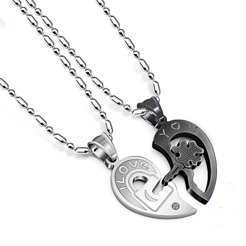 Creative Stainless Steel Key to Heart Couple Necklace