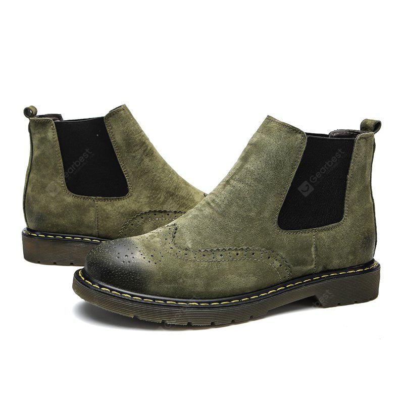 Male Trendy Brush-off Medium-top Chelsea Style Boots, BLACKISH GREEN, 43, Bags & Shoes, Men's Shoes, Men's Boots