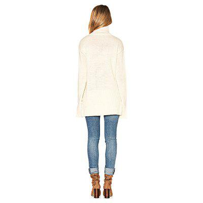 White High Collar Split Cuff Loose SweaterSweaters &amp; Cardigans<br>White High Collar Split Cuff Loose Sweater<br><br>Materials: Cotton, Polyester<br>Package Content: 1 x Sweater<br>Package Dimension: 35.00 x 30.00 x 2.00 cm / 13.78 x 11.81 x 0.79 inches<br>Package weight: 0.4200 kg<br>Product weight: 0.4000 kg<br>Type: Pullovers