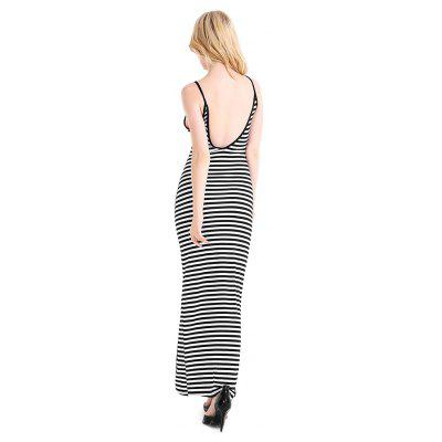 Striped Split Hem Backless Halter DressWomens Dresses<br>Striped Split Hem Backless Halter Dress<br><br>Dresses Length: Maxi<br>Elasticity: Elastic<br>Material: Cotton, Viscose<br>Neckline: Round Collar<br>Package Contents: 1 x Dress<br>Package size: 20.00 x 10.00 x 0.02 cm / 7.87 x 3.94 x 0.01 inches<br>Package weight: 0.2300 kg<br>Pattern Type: Striped<br>Product weight: 0.2200 kg<br>Season: Summer<br>Silhouette: Bodycon<br>Sleeve Length: Sleeveless<br>Style: Elegant<br>With Belt: No
