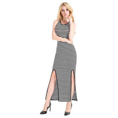 Striped Split Hem Backless Halter Dress