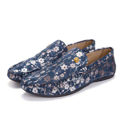 Masculino Stylish Floral Smile Soft Light Flat Loafer