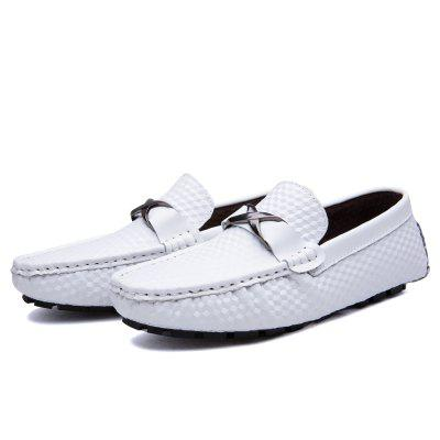Male Business Soft Stereo Grain Driving Flat Loafer