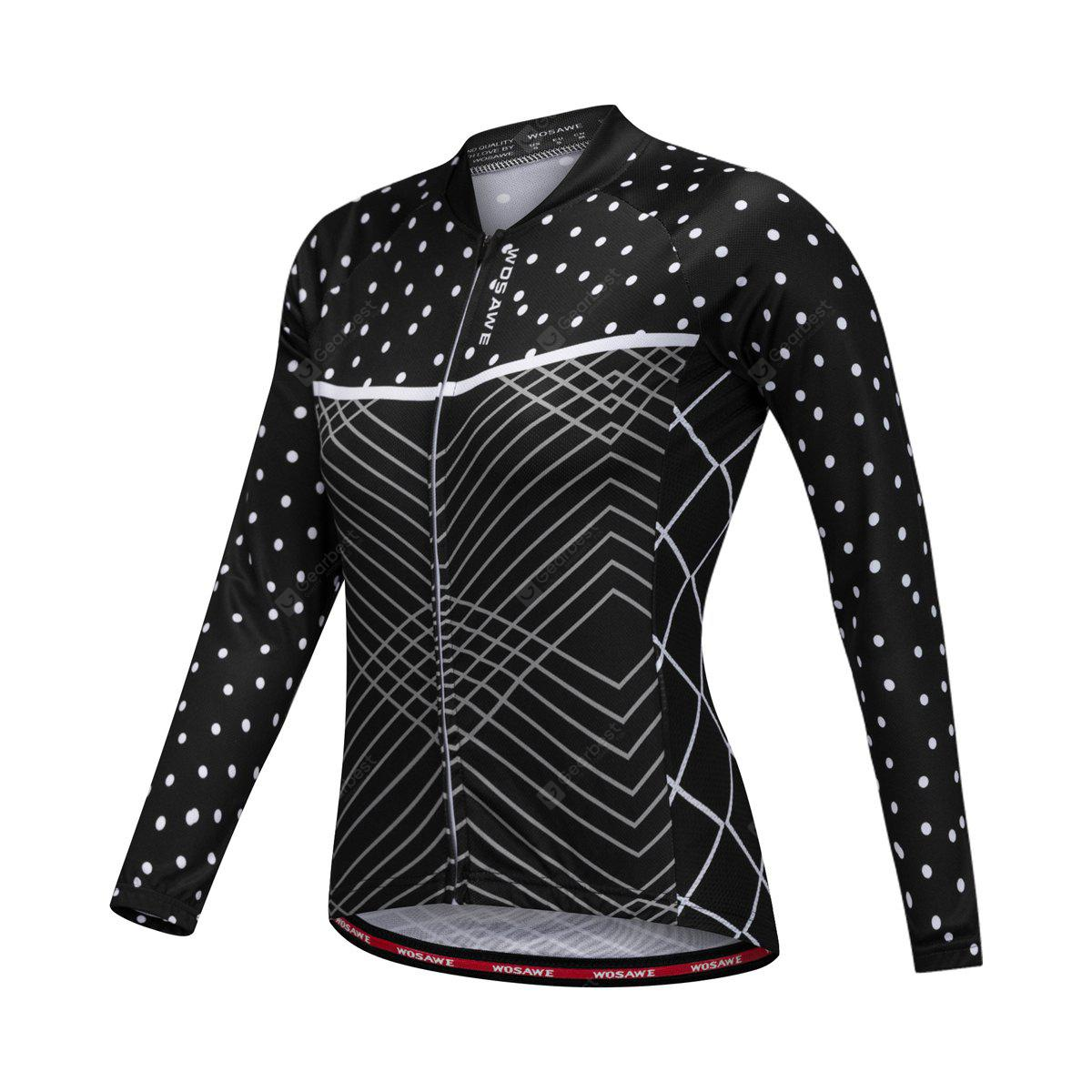 BLACK S WOSAWE BC219 Female Cycling Jersey Slim Elastic Jacket Tops