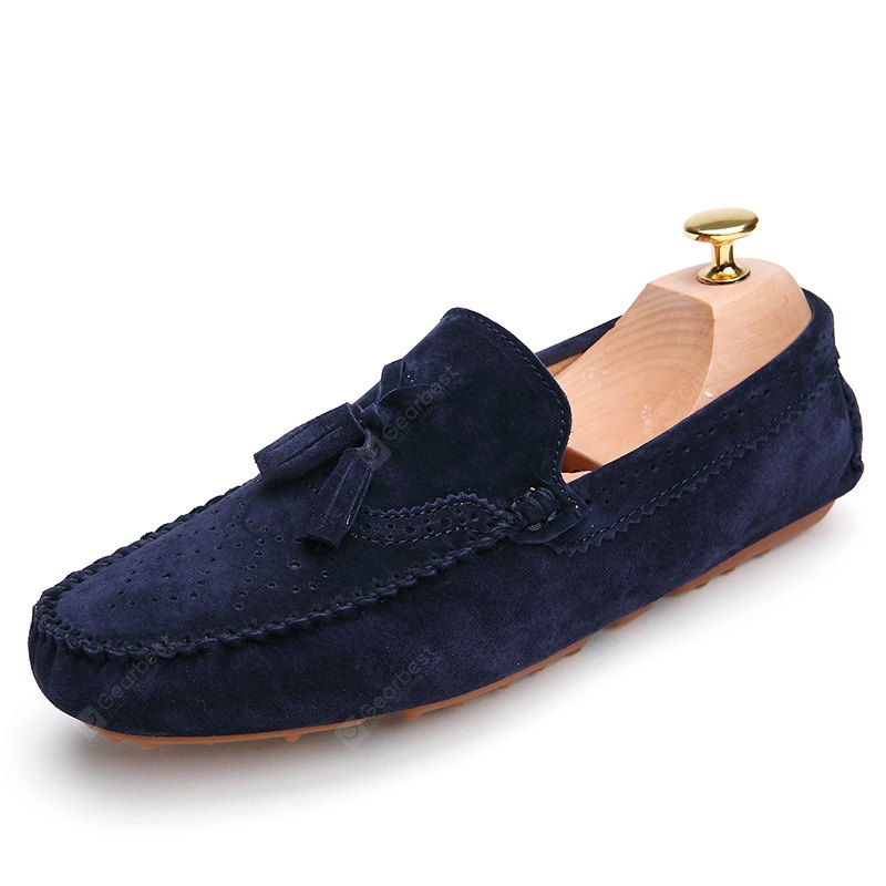 DEEP BLUE 43 Male Business Breathable Soft Driving Flat Loafer