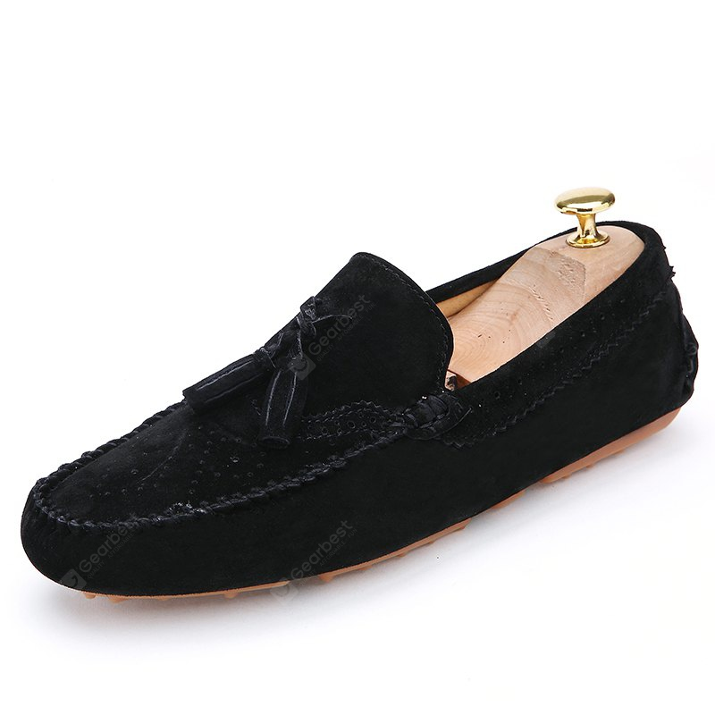 BLACK 42 Male Business Breathable Soft Driving Flat Loafer