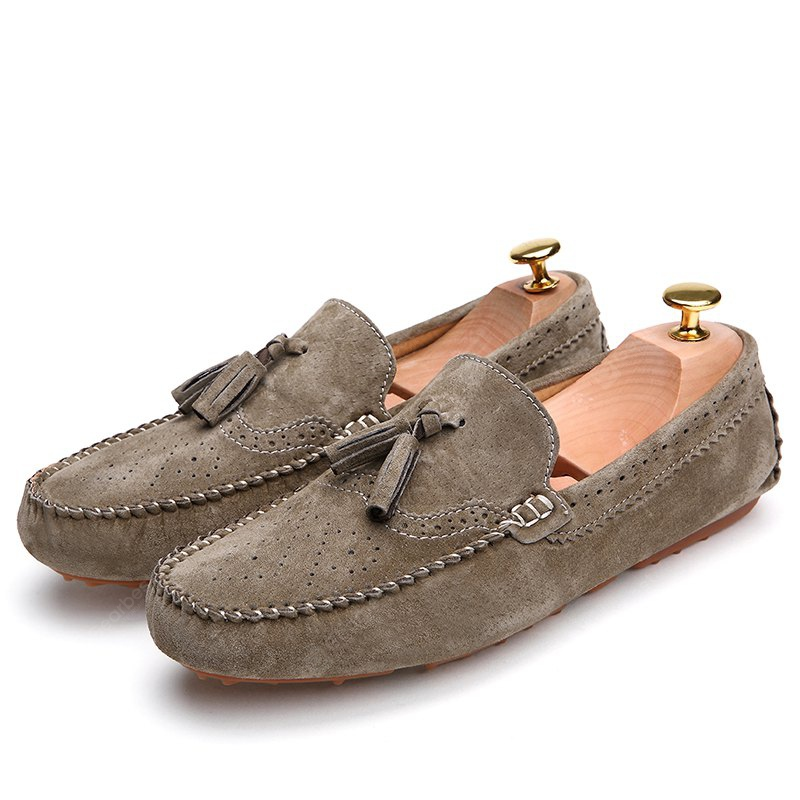 KHAKI 38 Male Business Breathable Soft Driving Flat Loafer