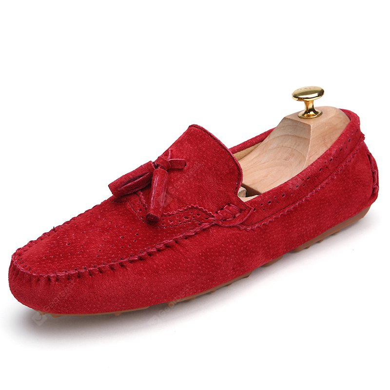 RED 44 Male Business Breathable Soft Driving Flat Loafer